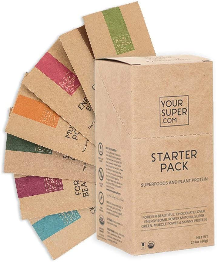 Your Super - Plant Based Protein and Superfood Powder Starter Pack - Detox Cleanse, Immune Support, Brain Booster, Skin Health - Organic Spirulina, Moringa, Cacao, Lucuma, Maca Powder - 7 Servings