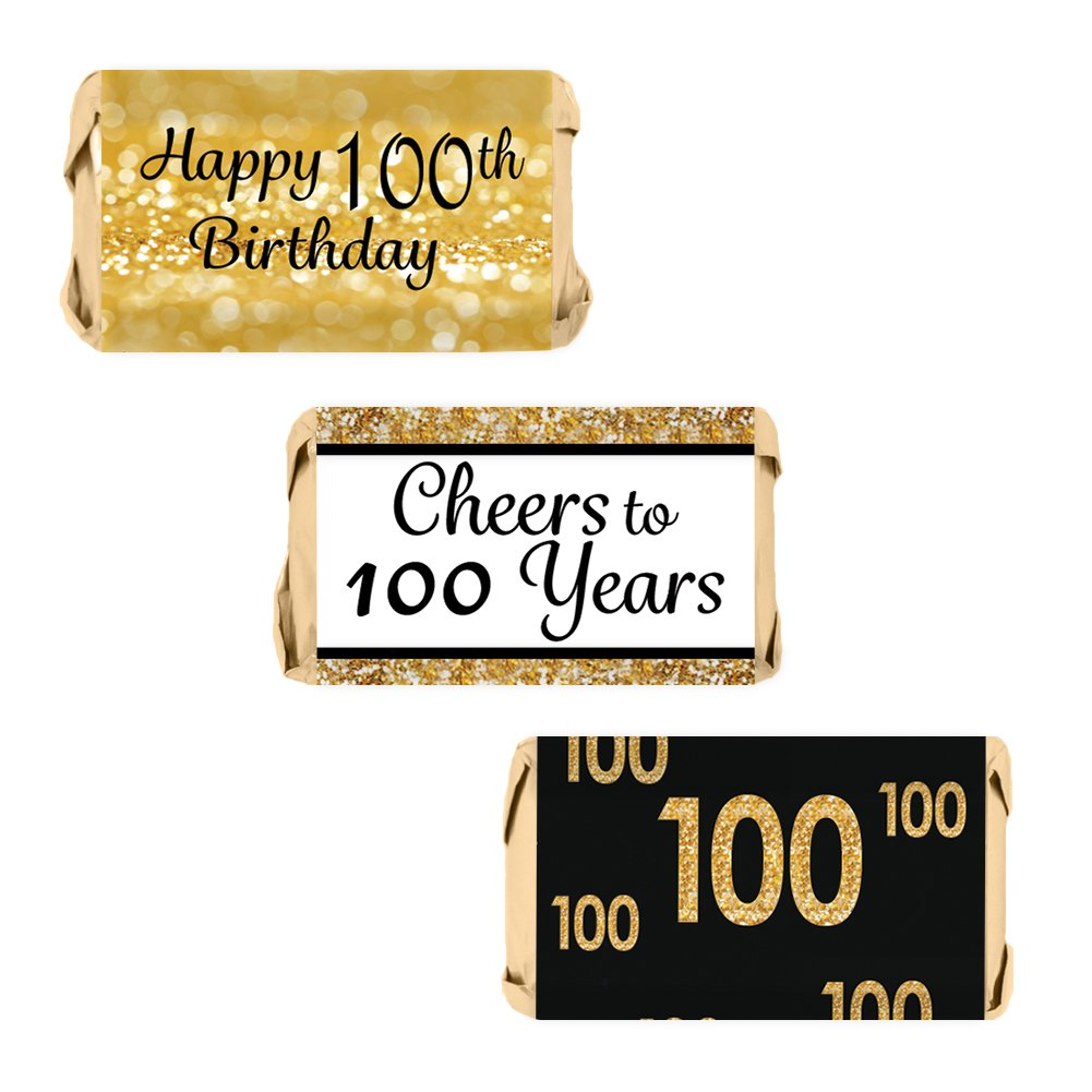 DISTINCTIVS 100th Birthday Party Miniatures Candy Bar Wrapper Stickers - Gold and Black (Set of 54) by DISTINCTIVS
