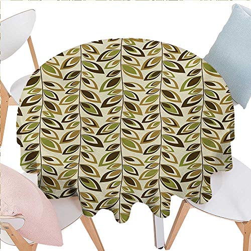 BlountDecor Leaves Stain Resistant Wrinkle Round Tablecloth Abstract Vertical Leafy Branches Retro Revival Scroll Style Autumn Season Foliage Round Wrinkle Resistant Tablecloth D60 Multicolor