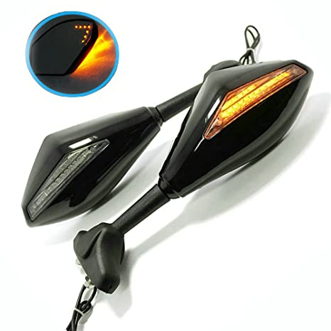 29ee3dd7cacde Amazon.com: Yibid Motorcycle Integrated Mirrors with Arrow LED Turn ...