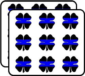 "Shamrock Shaped Thin Blue LINE - cop Officer Flag Police Sticker for Scrapbooking, Calendars, Arts, Album, Bullet Journals 2"" 18 Pack"