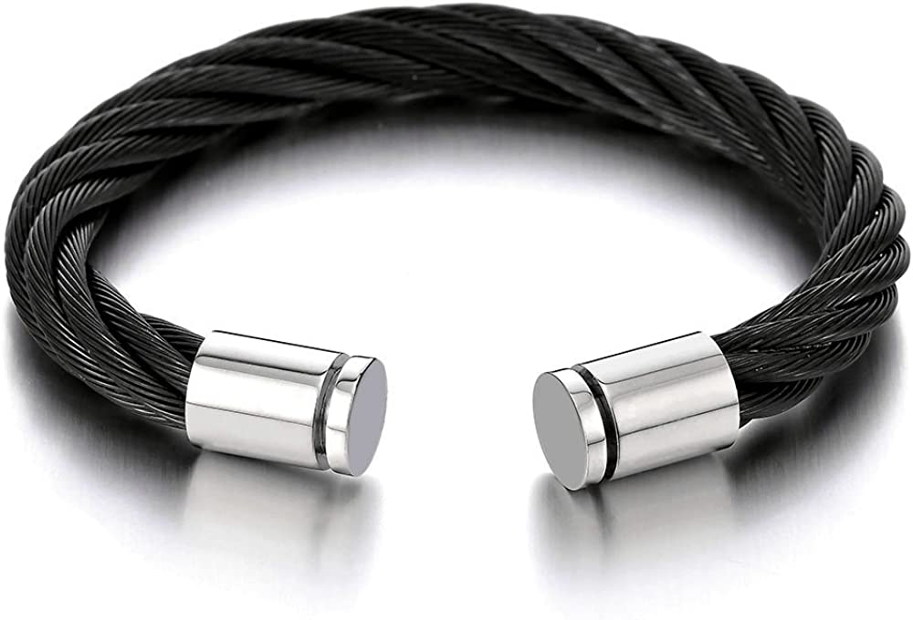 COOLSTEELANDBEYOND Large Elastic Adjustable Steel Twisted Cable Cuff Bangle Bracelet for Mens Womens