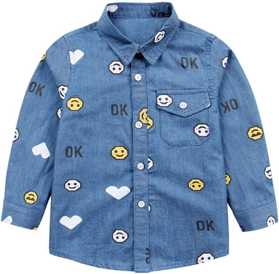 Camisa vaquera para niños chicos Polo azul Tops Ropa de manga larga: Amazon.es: Bebé