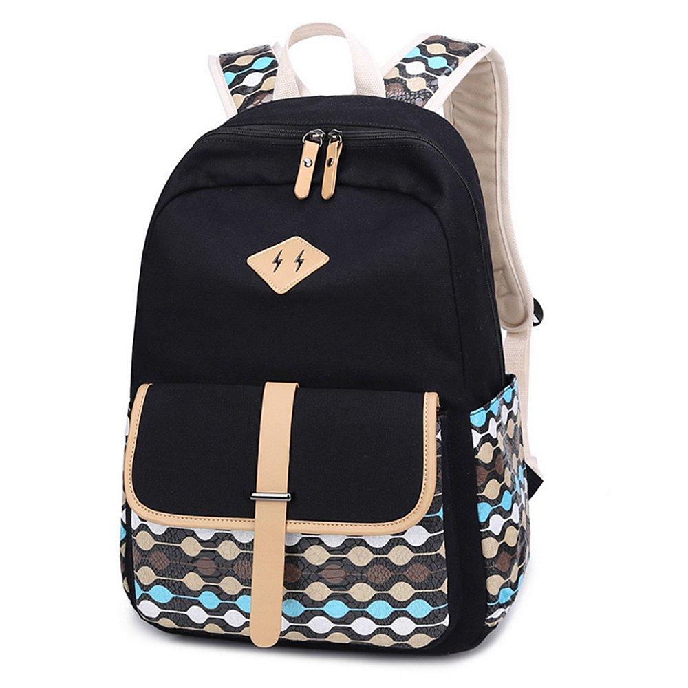 IBFUN Backpack Girls Womens Kids Canvas School Bookbags College Bags Daypack Black