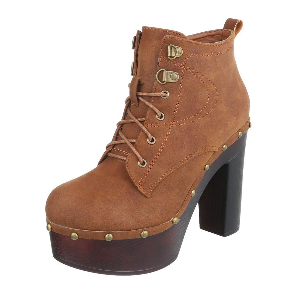 Ital-Design High Heel Stiefeletten Damenschuhe Schlupfstiefel Pump Schnürer Reißverschluss Stiefeletten  39 EU|Camel 888-19