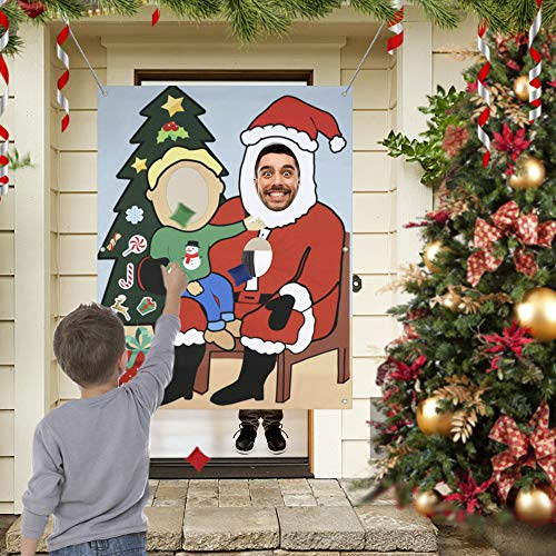 partyclub 2-In-1 Ugly Sweater Party Supplies, Christmas Photo Door Banner + Xmas Bean Bag Toss Games for Holiday Party Favors Family Games (Photos For Cutouts Christmas)