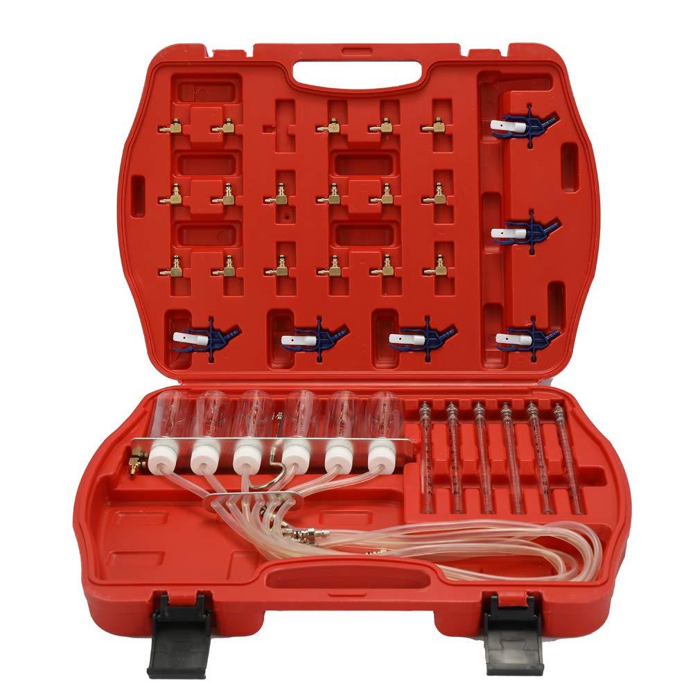 Kit doutils de test de d/ébitm/ètre dinjecteur Kit de testeur de carburant pour adaptateur de rampe commune 6 cylindres Fesjoy Kit de d/ébitm/ètre diesel