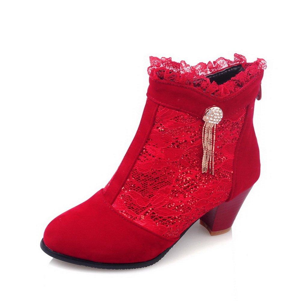BalaMasa Womens Hollow Out Leopard Pattern Glass Diamond Lace Red Mesh Boots - 8 B(M) US