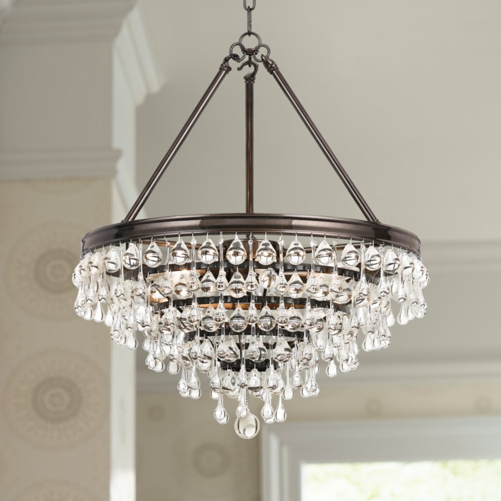 vibrant bronze with chandelier calypso crystal wide crystals dp amazon crystorama com