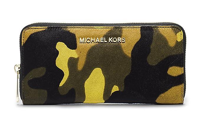 499fc83f1c6f Michael Kors Jet Set Acid Lemon Haircalf Zip Around Continental Accordion  Wallet - Camo