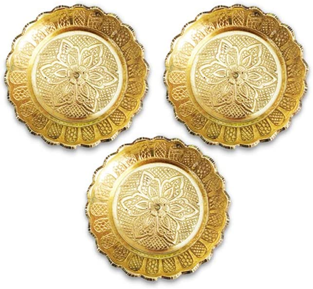 Shubhkart Nakshi Plate (Pack Of 3), Handmade Brass Indian Plate for Puja (Small)