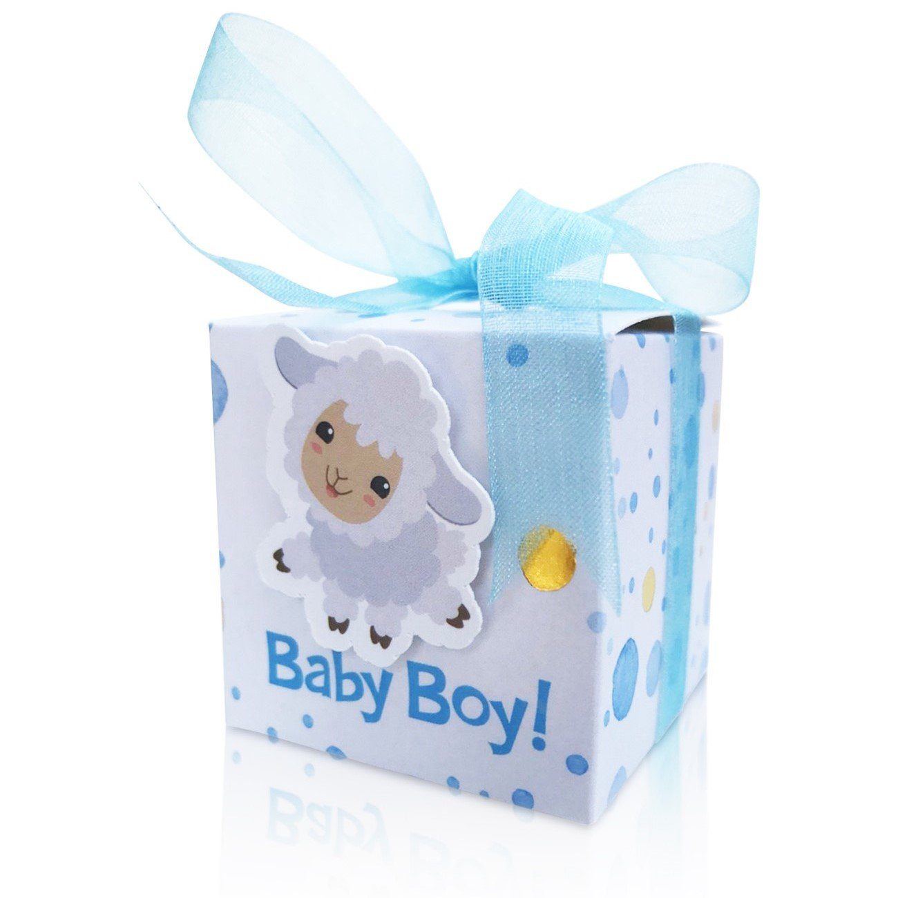 Partyedge Baby Shower Favor Boxes | Cute Little Baby Sheep Candy Box for Boys | Kids Party Favors | Baby Shower Favors | Party Decoration Supplies Gift Boxes 1st Birthday Boy 40 Pieces+Ribbons(Blue)