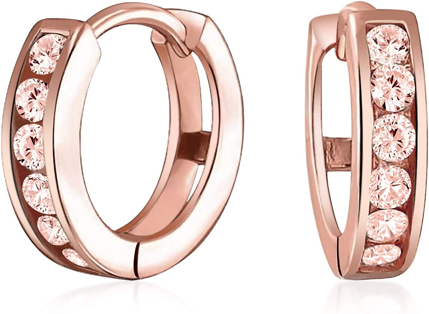 Delicate Tiny CZ Channel Set Kpop Huggie Hoop Earrings For Women For Teen Rose Gold Plated Sterling Silver More Colors