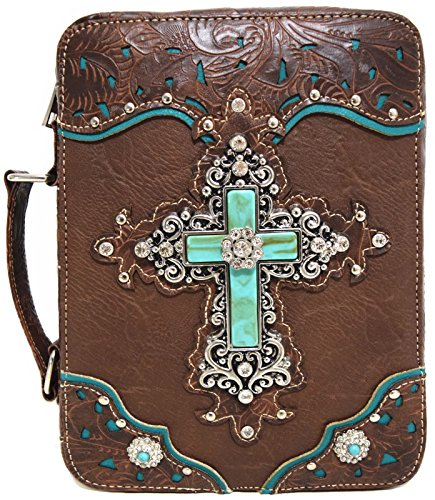 WF Western Style Embroidered Scripture Bible Verse Cover Books Case Cross Extra Strap Messenger Bag (Brown)