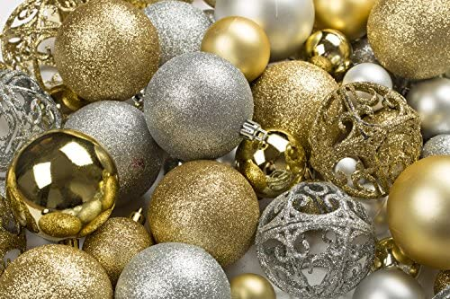 5641a314ede R N  D Toys 100 Gold and Silver Christmas Ornament Balls Shatterproof +100  Metal Ornament Hooks