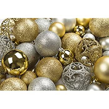 100 gold and silver christmas ornament balls shatterproof 100 metal ornament hooks hanging ornaments for indoor outdoor christmas tree holiday party
