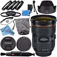 Canon EF 24-70mm f/2.8L II USM Lens 5175B002 + 82mm 3 Piece Filter Kit + 82mm Macro Close Up Kit + Lens Cleaning Kit + Fibercloth Bundle