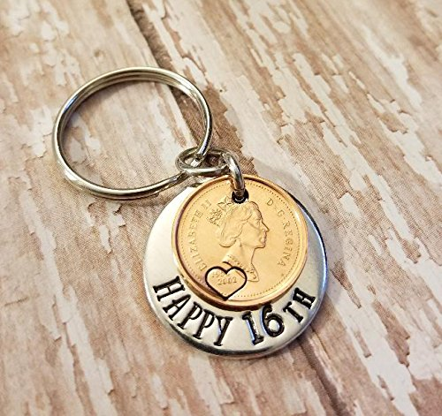 Happy 16th Birthday Gift Lucky 2002 Cent Key Chain for Teenager
