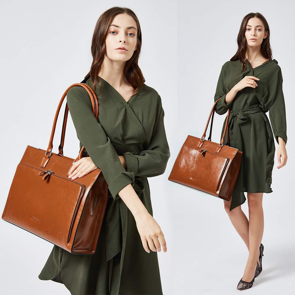 BOSTANTEN Women Leather Briefcase Vintage Shoulder 15.6'' Laptop Tote Handbags Brown by BOSTANTEN (Image #2)