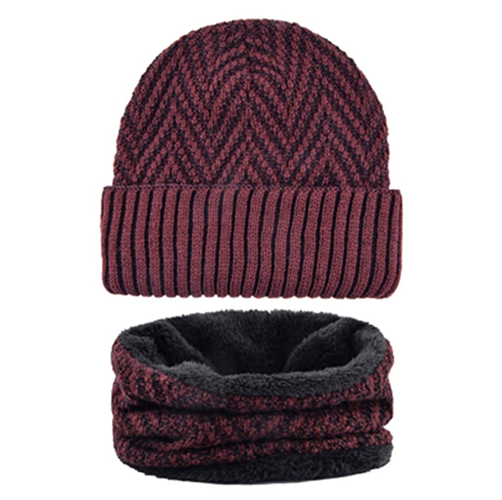 Mens Hat Scarf Sets Winter Knitted Thick Bonnet Caps Men Velvet Beanies Hats Set Knitting Warm Skullies
