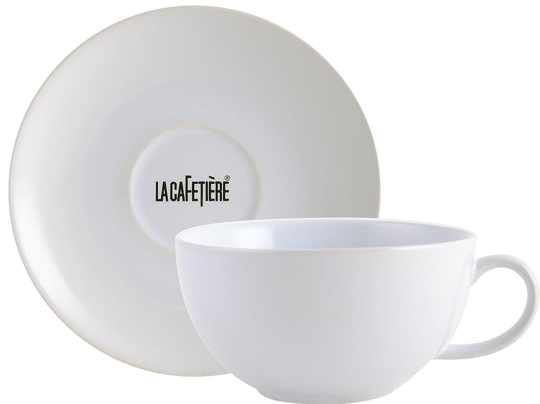 Creative Tops La Cafetière Ceramic Cappuccino Cup and Saucer, White, 450ml (15 fl oz) 5153369