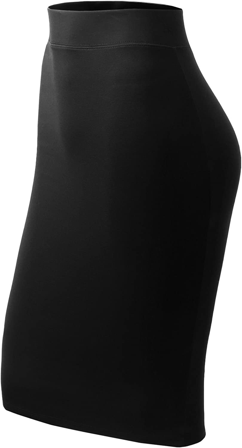 All for You Womens Slim Fit Bodycon Midi Ponte Pencil Skirts Made in USA