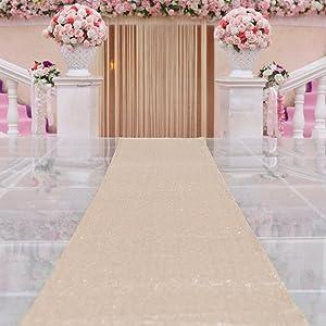 TRLYC 4FTX16FT Champagne Glitter Carpert Runner Sequin Aisles Floor Runner for Wedding
