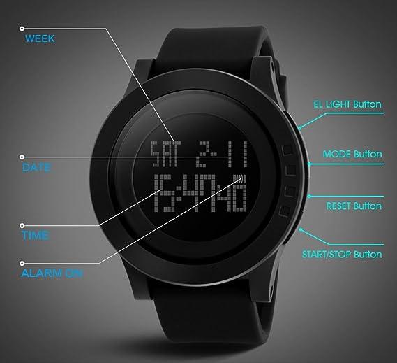 Relojes Militares Deportivos Digitales para Hombre con números Grandes, Impermeables, con Alarma y Temporizador, retroiluminación LED para Hombres Que ...