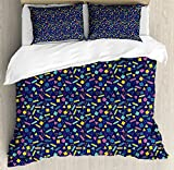 old 80s - Ambesonne Geometric Duvet Cover Set Queen Size, Surreal Vintage Vibrant Colored Image Eighties Style Old Fashioned Color Palette, Decorative 3 Piece Bedding Set with 2 Pillow Shams, Multicolor