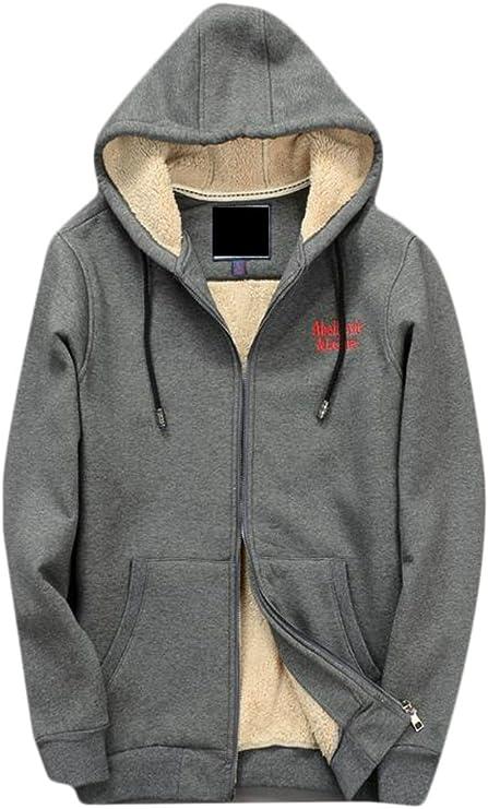 Ptyhk RG Mens Stylish Long Sleeve Fleece Lined Warm Hooded Sweatshirt Jacket