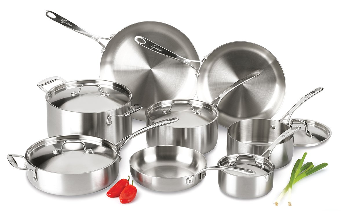 Lagostina Q555SD Axia Tri-Ply Stainless Steel Dishwasher Safe Oven Safe Cookware Set, 13-Piece, Silver by Lagostina (Image #2)