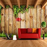 LHDLily Television Background Wallpaper Living Room Sofa European 3D Stereo Wood Mural Wallpaper 300cmX200cm