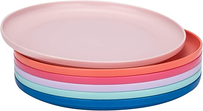 Unbreakable and Reusable 9,75-inch Plastic Dinner Plates, Set of 6 Multicolor, Microwave/Dishwasher Safe, BPA Free
