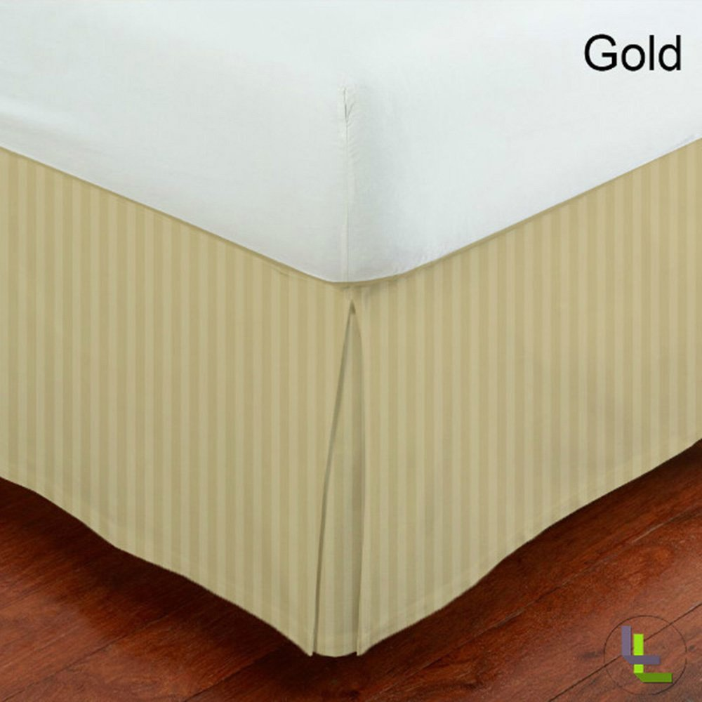 Stripe Stripe 1 Piece Bed Skirt 100/% Egyptian Cotton All Size And Color { King Gold} Scala 9 Inch Fall 400 Thread Count Both Pattern Solid