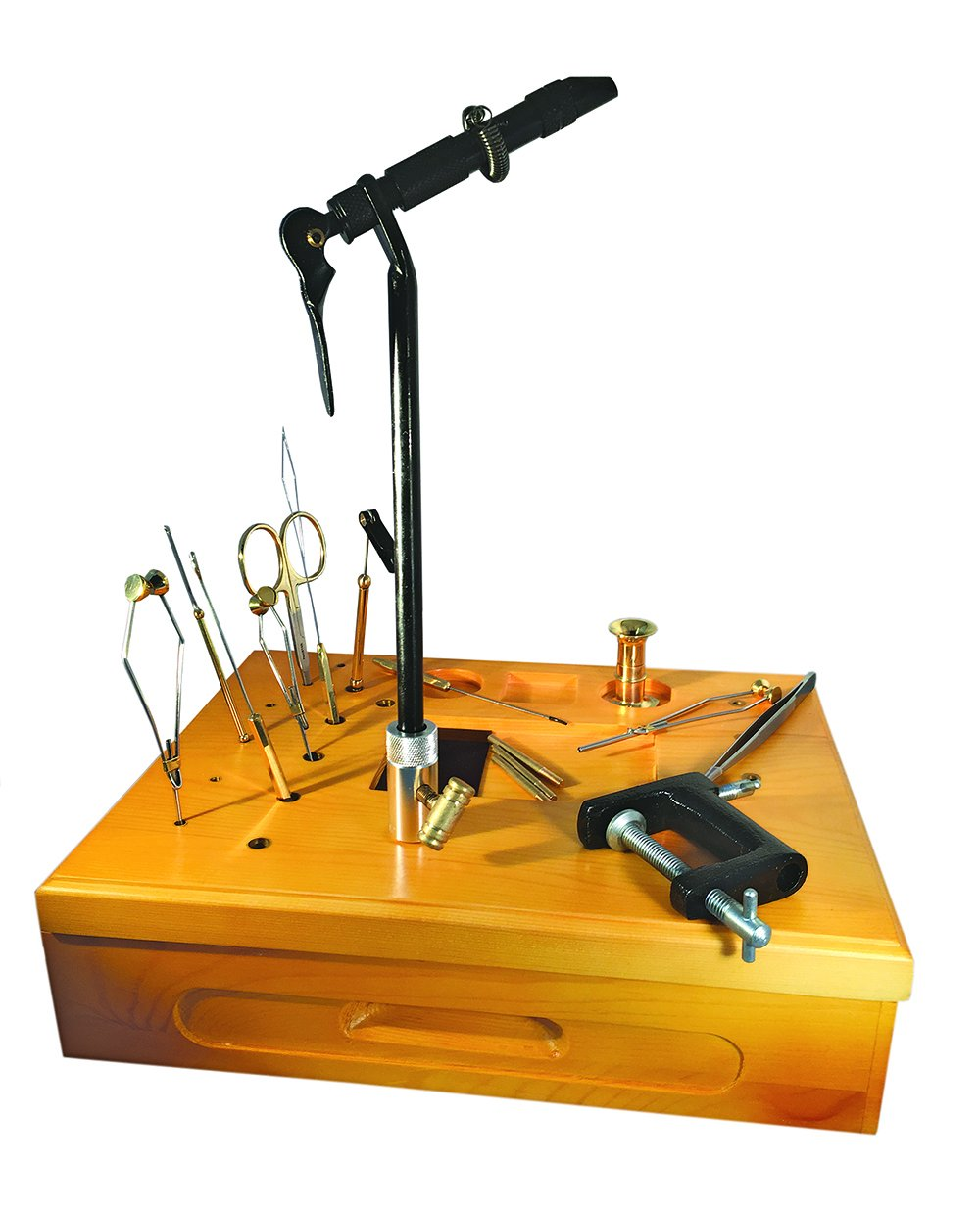 Creative Angler Wooden Fly Tying Station with Super AA Vise for Fly Tying or Tying Flies by Creative Angler