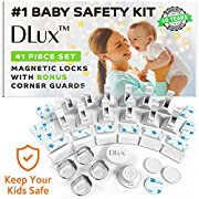 Dlux Magnetic Cabinet Locks for Child Safety [12 Locks & Latches, 2 Magnetic Keys, 4 Corner Guards Kit] Baby Proof Kitchen Drawers and Doors, No Drill Required, 41 Piece Set