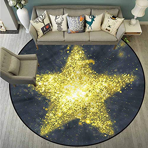Bedroom Round Rugs,Stars,Big Star Icon Universe,with No-Slip Backing,2