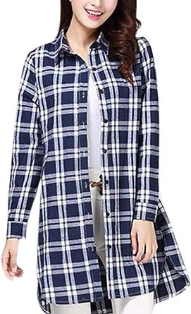 Keephen Camisa de Manga Larga a Cuadros de Franela de Mujer: Amazon.es: Ropa y accesorios