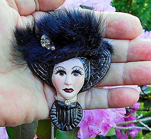 Vintage Porcelain Cameo, with Genuine Mink Hat, Faceted Silver Lined Crystal Embellished Brooch. One of a Kind! Cameo Porcelain Pin Pendant