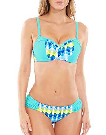 aec5287a66 Figleaves Womens Lagoon Underwired Bandeau Bikini Top Size 36G in Blue