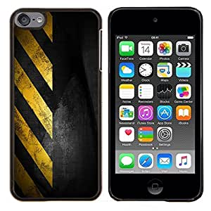 For Apple iPod Touch 6 6th Generation - Traffic Sign Yellow Tape Black Stripes Case Cover Protection Design Ultra Slim Snap on Hard Plastic - God Garden -