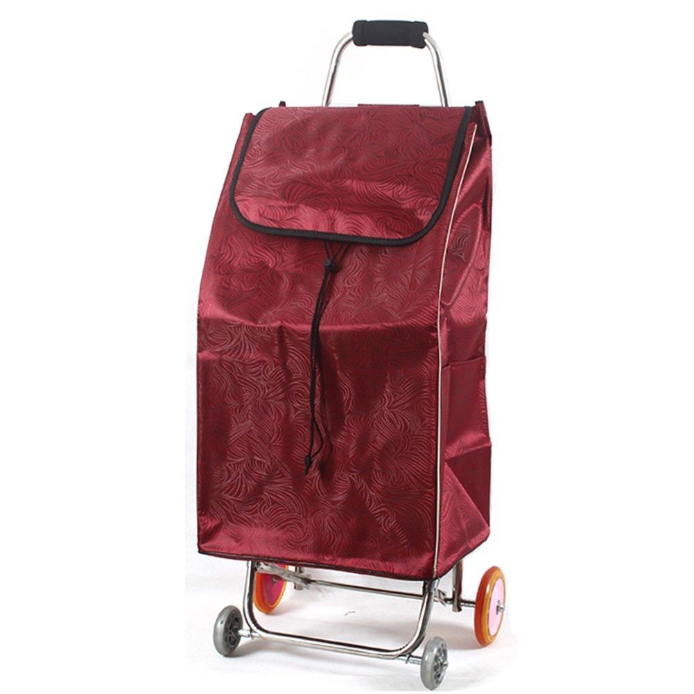 ZGL トラック トロリーステンレス折りたたみショッピングカートポータブル食料品取扱トロリートレーラー家庭用ハンドカー (色 : 赤) B07D7Y9M2R 赤 赤