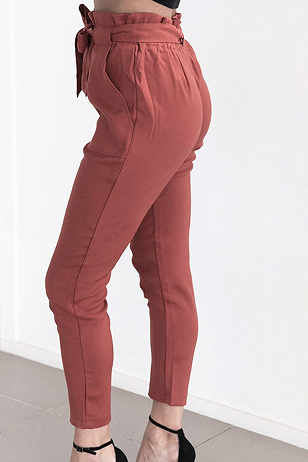 Zojuyozio Womens High Waist Ruffle Belted Ankle Pants Skinny Fit Solid Trousers