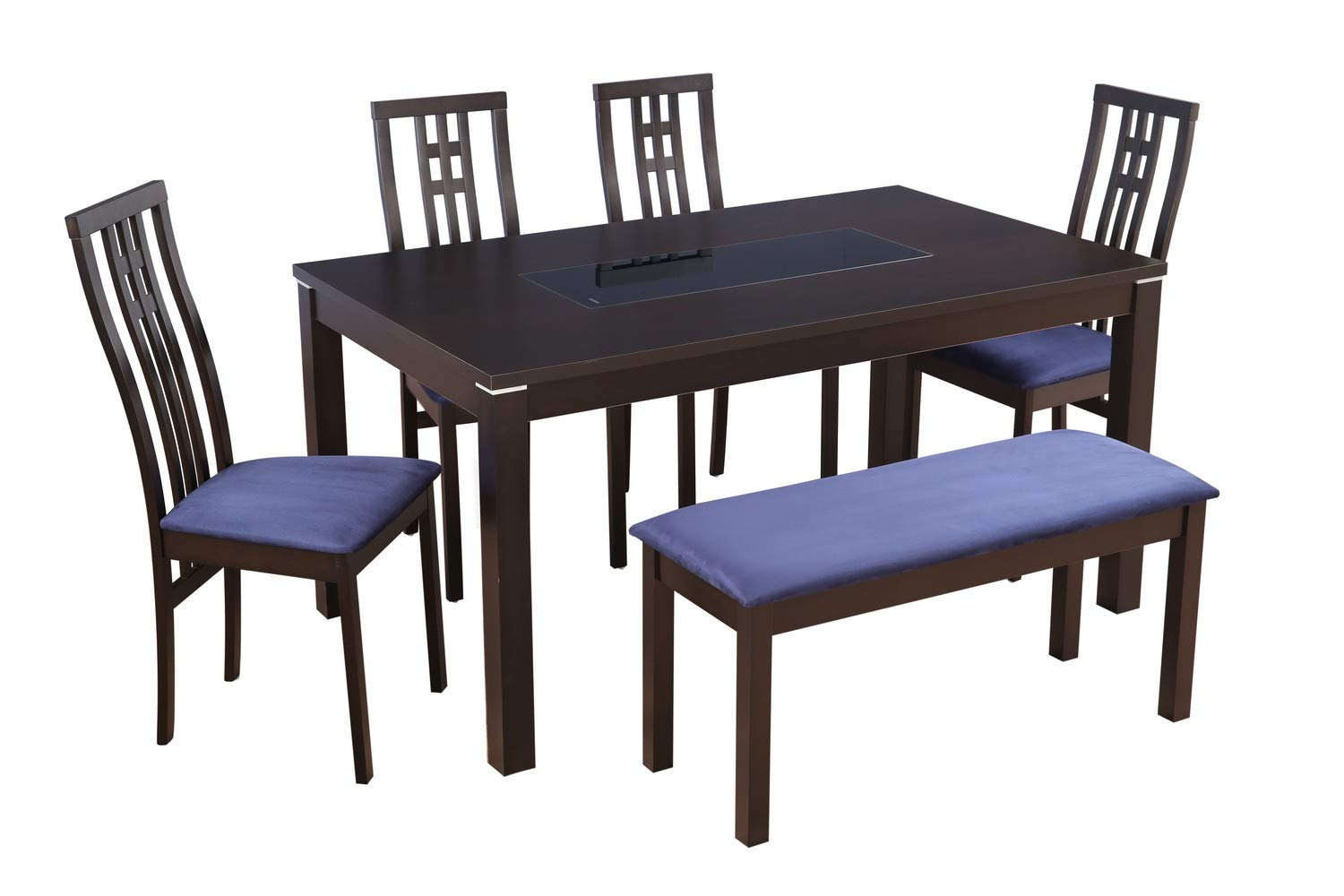 HomeTown Daiton Rubber Wood + Glass Six Seater Dining Set in