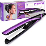 PRITECH Professional Hair Straightener Ceramic Coating Plates with Safety Lock Heat Up Fast Dual Voltage, Purple …