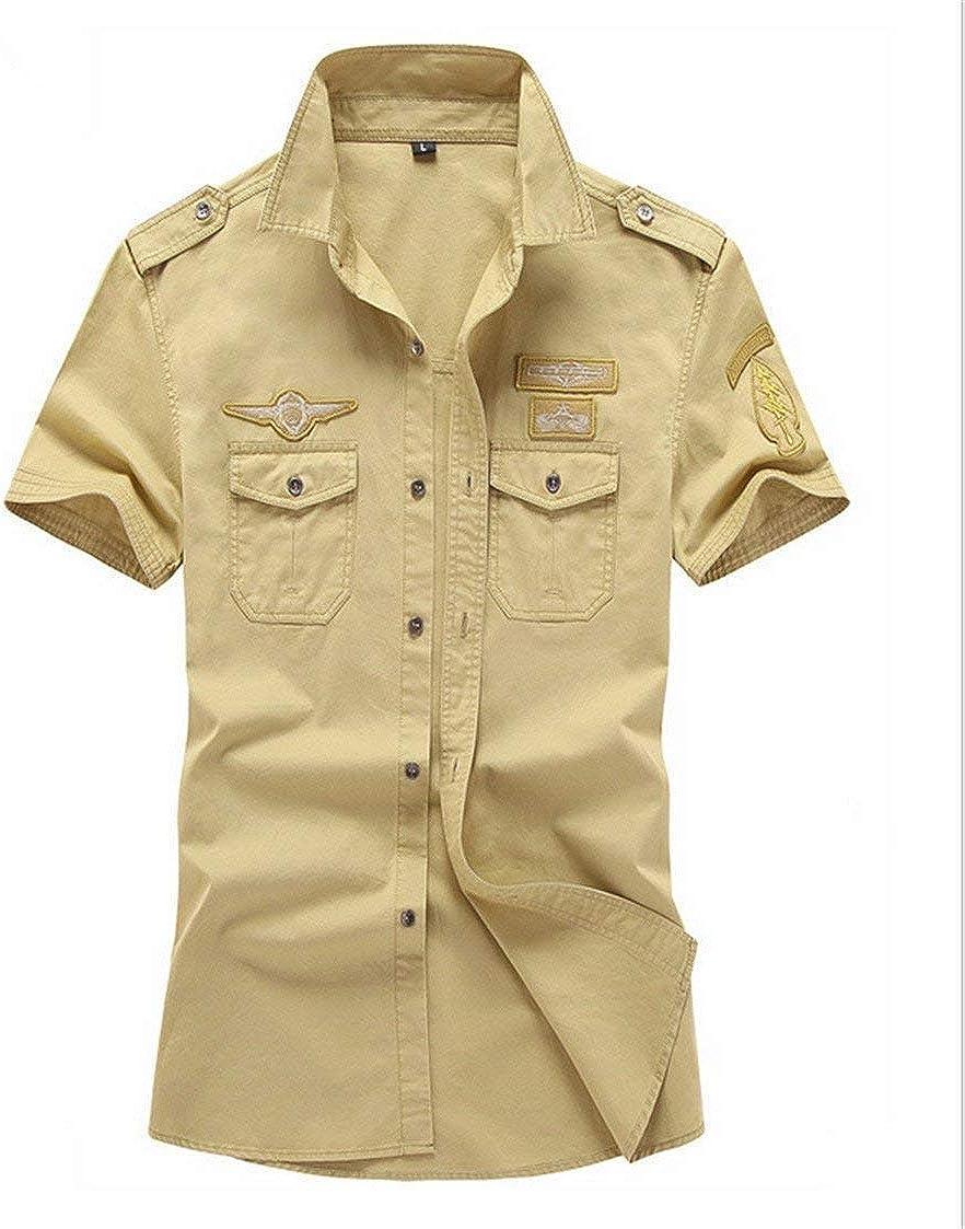 Camisas para Hombre Verano Camisa De Manga Corta Mode De Aire Marca Al Libre Camisa Militar Tops Oversize Ocio Moda Solapa Deportes Movimiento Tops (Color : Khaki, Size : SG): Amazon.es: Ropa
