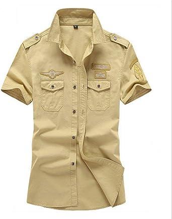Camisas para Hombre Verano Camisa De Manga Corta Al Ropa Aire Libre Camisa Militar Tops Oversize Ocio Moda Solapa Deportes Movimiento Tops (Color : Khaki, Size : SG): Amazon.es: Ropa y accesorios