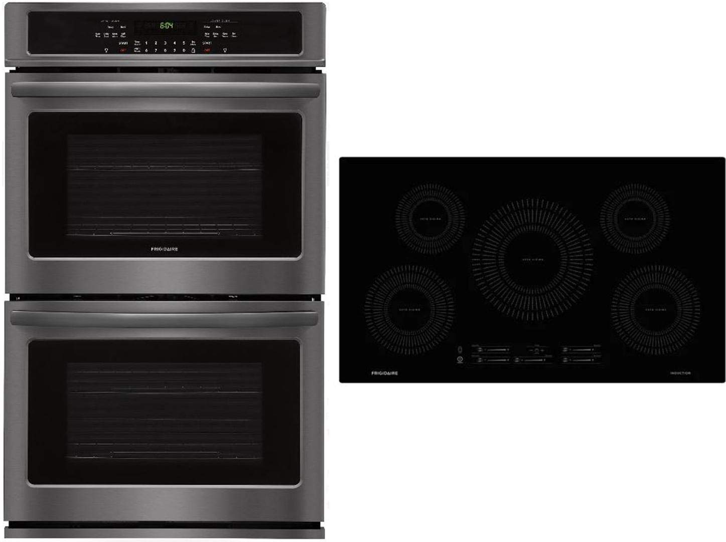 "Frigidaire 2 Piece Kitchen Appliances Package with FFET3026TD 30"" Electric Double Wall Oven and FFIC3626TB 36"" Electric Induction Cooktop in Black Stainless Steel"