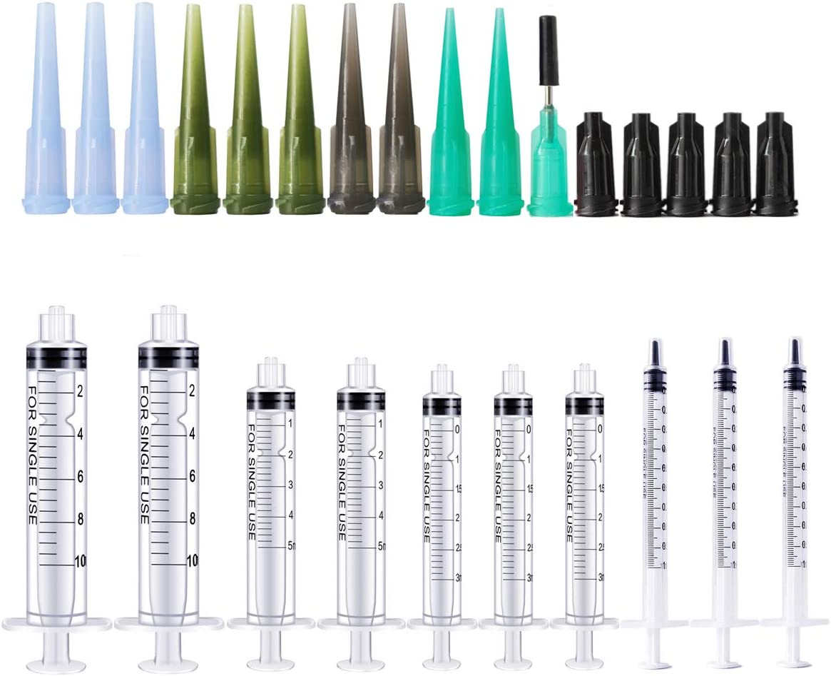 BSTEAN Plastic Syringe Pack with Needles and Caps for Pet Feeding, Lab Measurement and Household Multiple Uses Tools