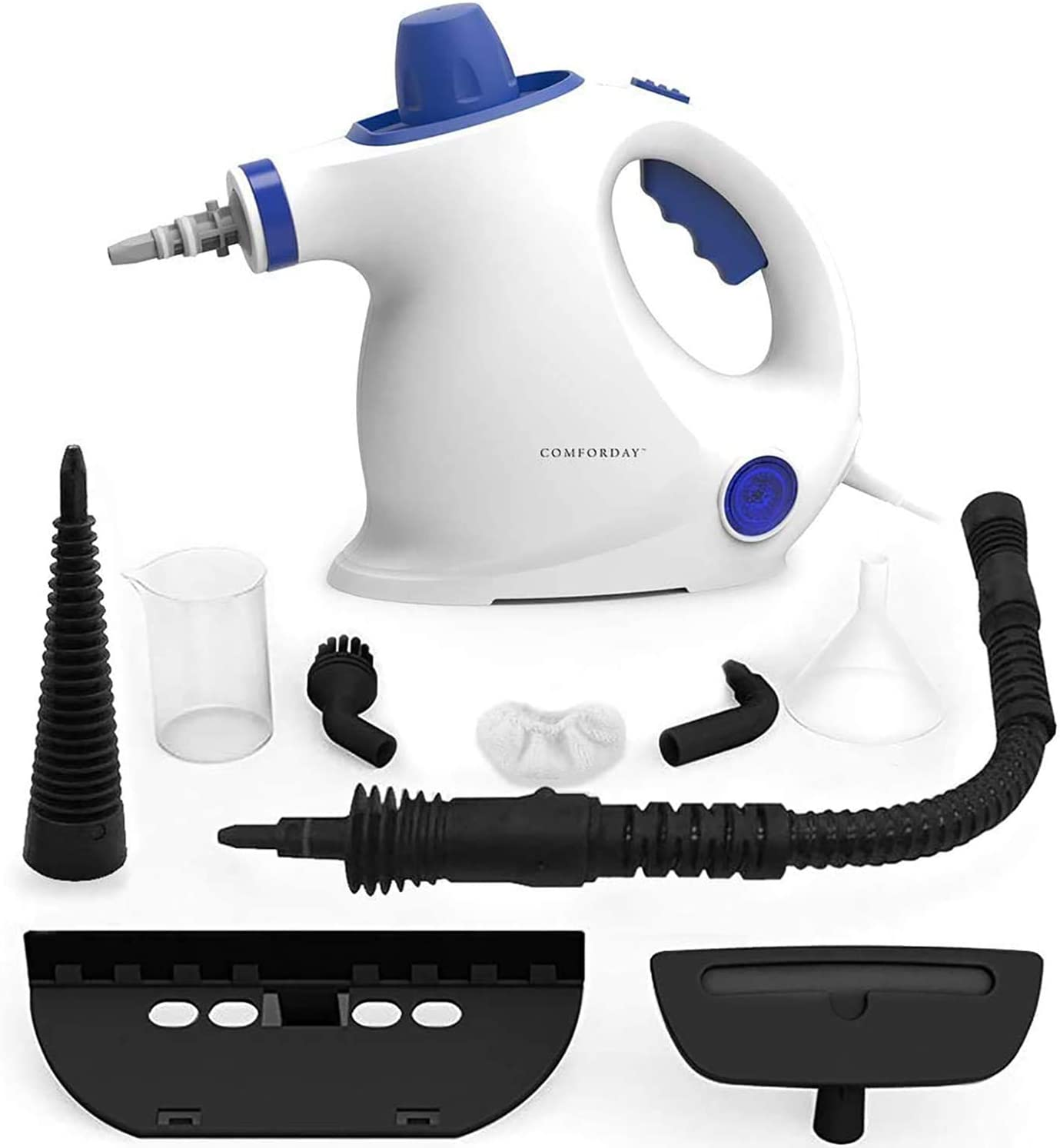 Comforday Steam Cleaner - Multi-Purpose Handheld Pressurized Steamer Cleaner with 9-Piece Accessories for Stain Removal, Carpets, Curtains, Car Seats, Floor, White (UK Plug)